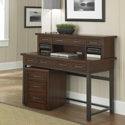 Loon Peak Rockvale Computer Desk with 1 Right & 1 Left Drawer and Hutch
