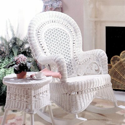 Yesteryear Wicker Country White Rocking Chair