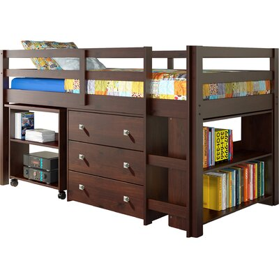 Donco Kids Twin Low Loft Bed with Storage