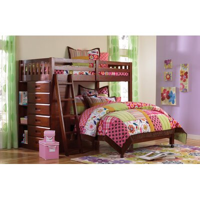 Donco Kids Twin over Full Loft Bed with 6 Drawer and Bookcase