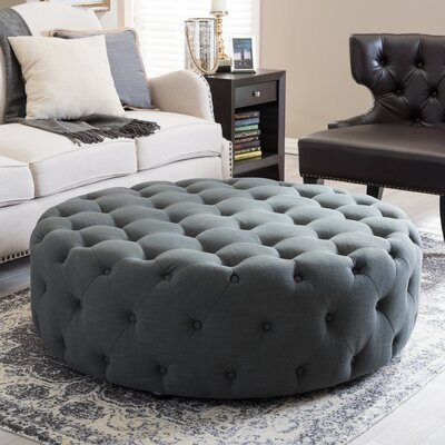 Wholesale Interiors Baxton Studio Cardiff Ottoman in Dark Gray