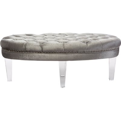 Wholesale Interiors Baxton Studio Oval Microsuede Fabric Upholstered Luxe Tufted Ottoman