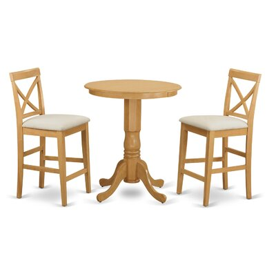 East West Furniture Eden 3 Piece Counter Height Pub Table Set