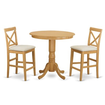 East West Furniture Jackson 3 Piece Counter Height Pub Table Set