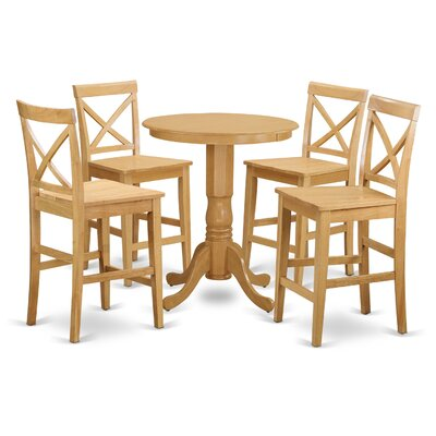 East West Furniture Eden 5 Piece Counter Height Pub Table Set