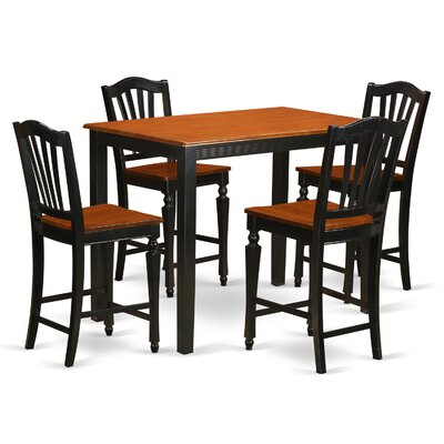 East West Furniture Yarmouth 5 Piece Counter Height Pub Table Set