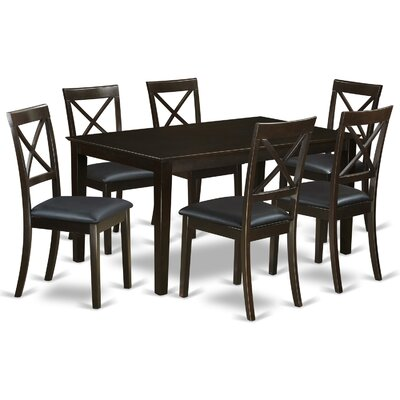 East West Furniture Capri Faux Leather 7 Piece Dining Set