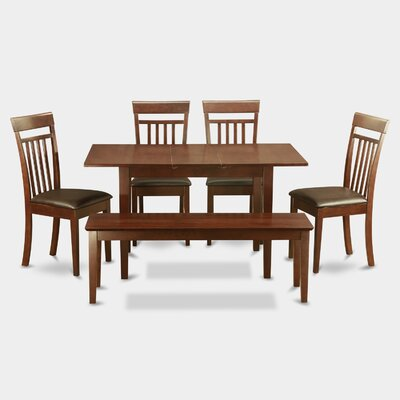 East West Furniture Norfolk Faux Leather 6 Piece..