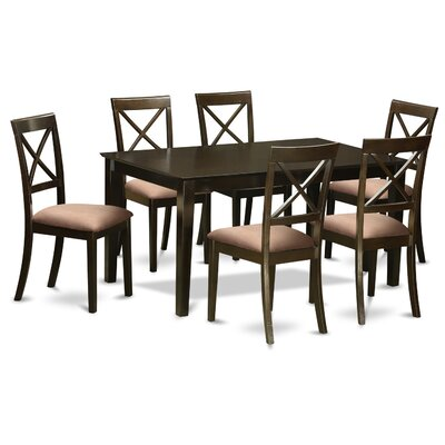 East West Furniture Capri Microfiber Upholstery 7 Piece Dining Set