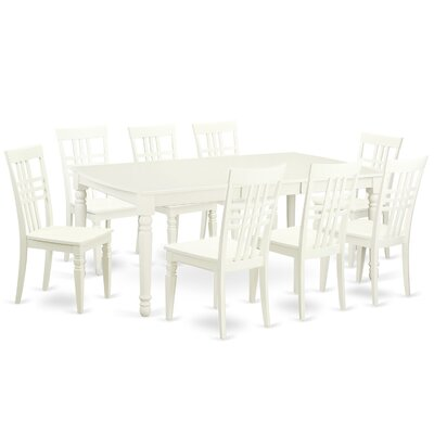 East West Furniture 9 Piece Dining Set in Linen White
