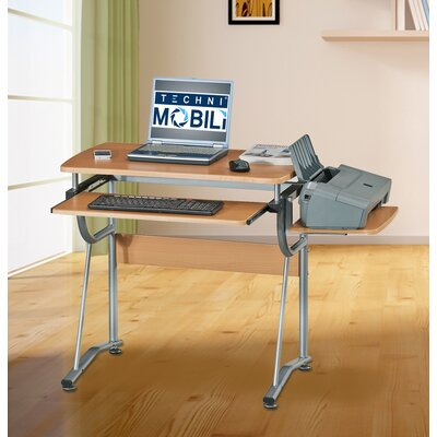 Techni Mobili Compact Computer Desk with Keyboard Tray and Side Accessory Shelf
