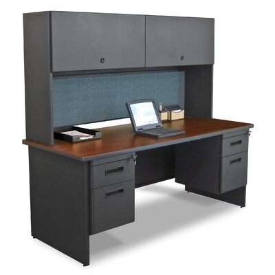 Marvel Office Furniture Pronto Executive Desk with Flipper Door Cabinet and Drawer