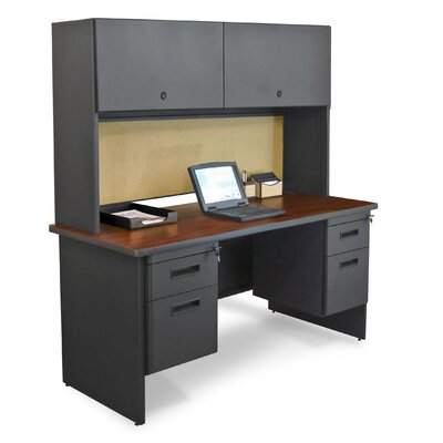 Marvel Office Furniture Pronto Flipper Door Cabinet Executive Desk with 2 Right & 2 Left Drawers