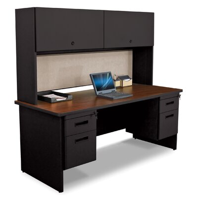 Marvel Office Furniture Pronto Executive Desk with Flipper Door Cabinet and Wire Management