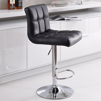 Hodedah Adjustable Height Swivel Bar Stool (..