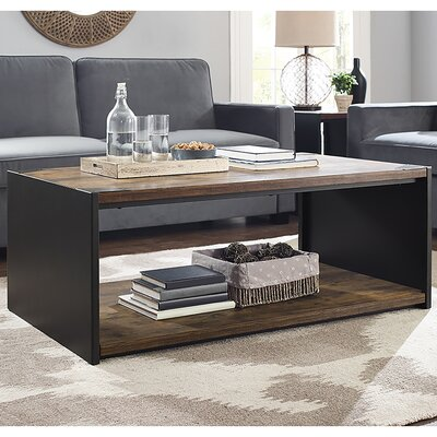 Walker Edison Steel Plate and Wood Coffee Table