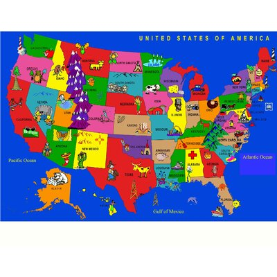 Kids World Fun Learning USA Cartoon Map Area Rug Reviews Wayfair