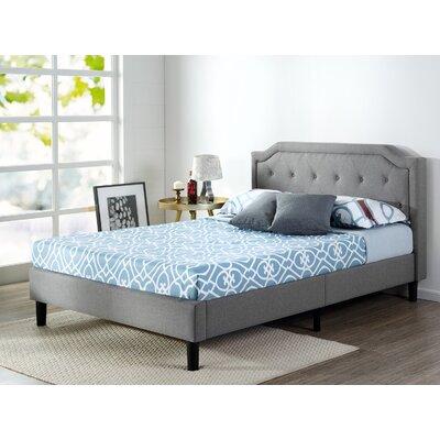 zinus scalloped button tufted upholstered platform bed u0026 reviews wayfair