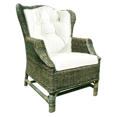 D-Art Collection Rattan Wicker Wingback Chair with Cushions