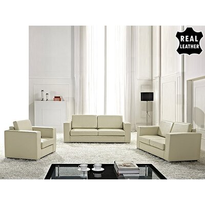 Beliani Helsinki European 3 Piece Leather Living..