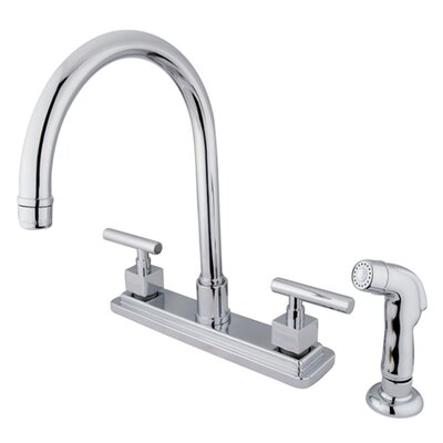 kingston brass claremont double handle kitchen faucet with