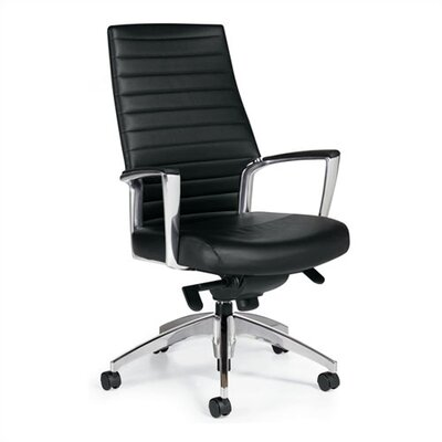 Global Total Office High-Back Leather Managerial Chair with Knee-Tilter