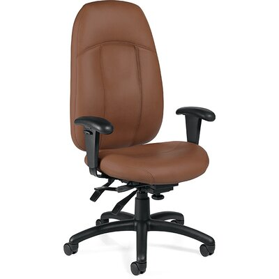 Global Total Office High-Back Leather Multi-Tilter Executive Chair with T-Arms