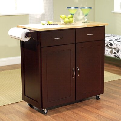TMS Venice Kitchen Island with Wood Top