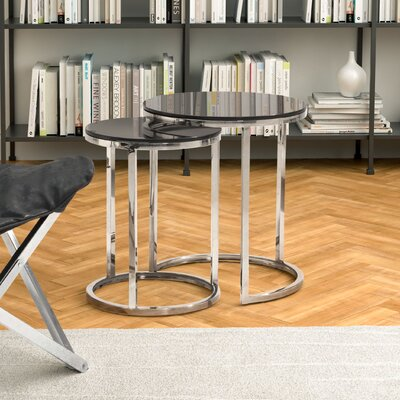 Wade Logan Porterfield 2 Piece Nesting Table Set