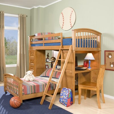 NE Kids School House Student Loft Bed with T..