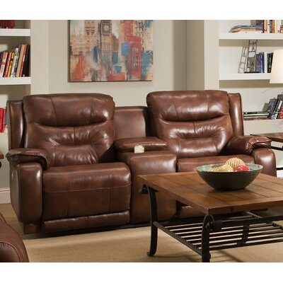 Southern Motion Crescent Reclining Leather Console Sofa