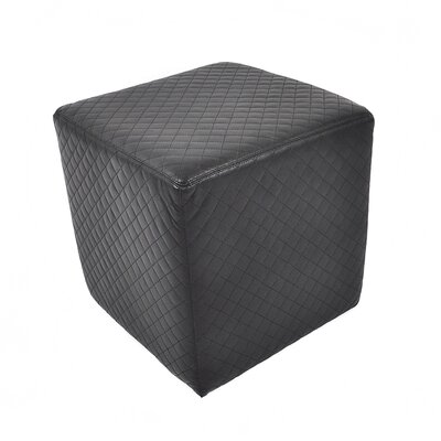 Found Object Quilted Leather Cube Ottoman