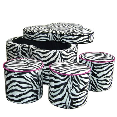ORE Furniture Zebra Storage Ottoman with ..