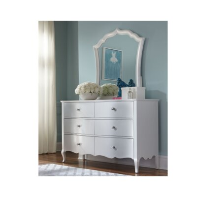 LC Kids Tiffany 6 Drawers Double Dresser with Mirror