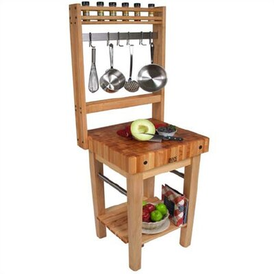 kitchen island pot rack boos boosblock pro prep table with butcher block top 5134