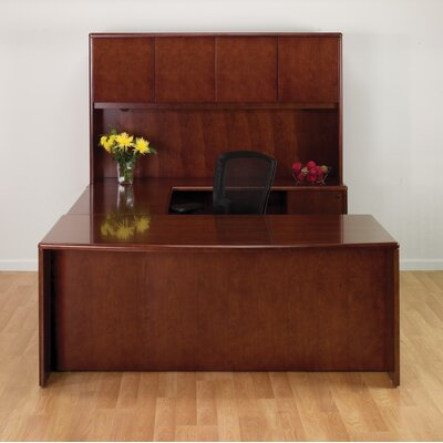 OSP Furniture Sonoma U-Shape Executive Desk with Hutch