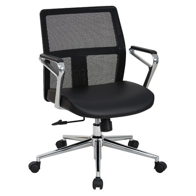 OSP Furniture Mid Back Mesh Conference Chair with Arms and Base