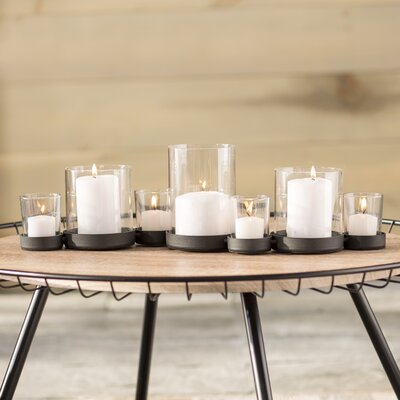 brayden studio selby 7 piece bubbles iron and glass candle holder set u0026 reviews wayfair
