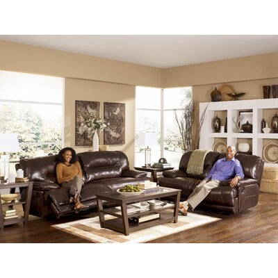 Darby Home Co Tankersley Leather Reclining Loveseat