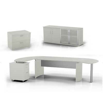 Mayline Group Medina Computer Desk with Pedestal, Low Wall Cabinet and Lateral File