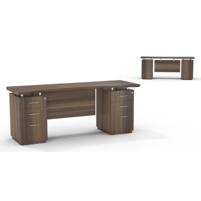 Mayline Group Sterling Credenza Desk with Box/Box/File Double Pedestals