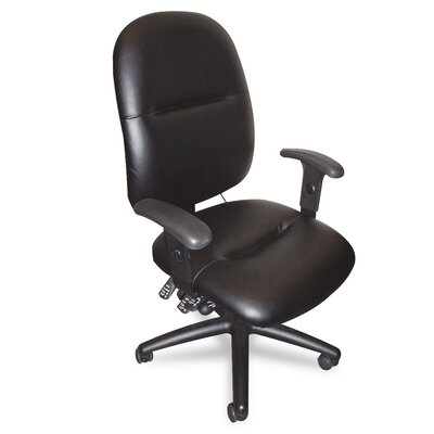 Mayline Group 24-Hour High-Back Leather Task Chair with Arms