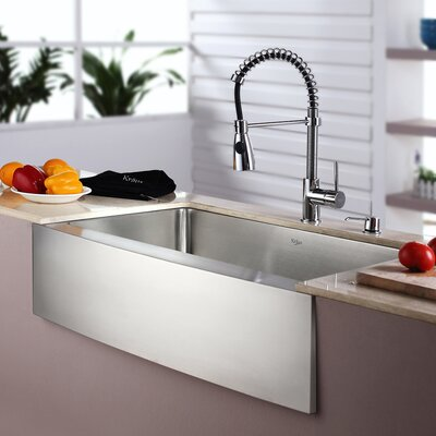 kitchen sink and faucet combo kraus kitchen combo 33 quot x 20 quot single bowl farmhouse 8431