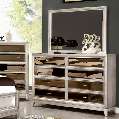 House of Hampton Byzantium 8 Drawer Dresser with Mirror