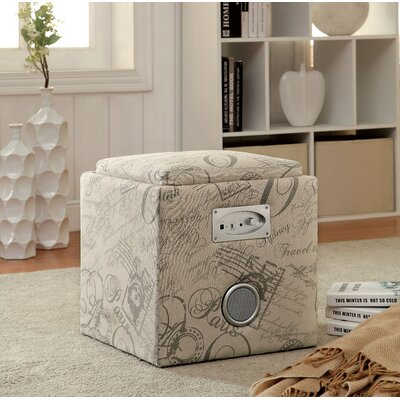 Hokku Designs Reverb Cube Ottoman with Bluet..