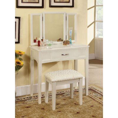 Hokku Designs Luisa Vanity with Mirror & Stool Set