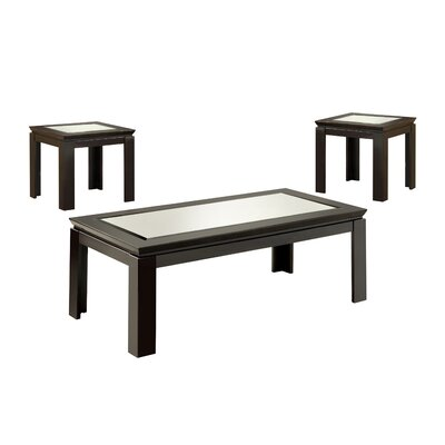 Hokku Designs Nayom Mirrored 3 Piece Coffee Table Set