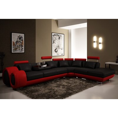 Hokku Designs Melrose 3 Piece Leather Sectional