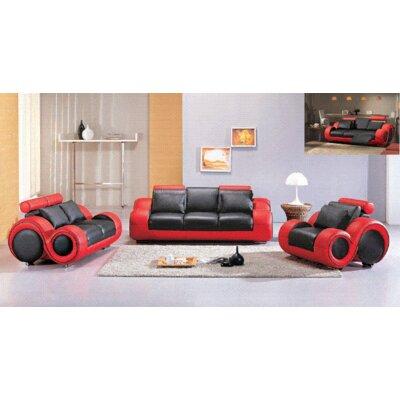 Hokku Designs Hematite 3 Piece Bonded Leather Sofa Set