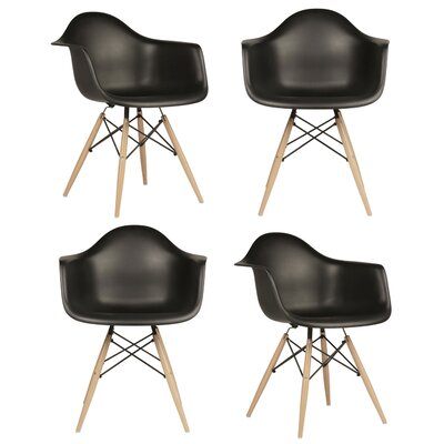 eModern Decor Mid Century Modern Scandinavian Arm Chair (Set of 4)